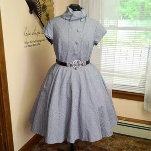 Eshakti navy houndstooth 1950s style dress